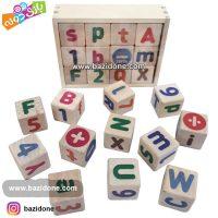 مکعب چوبی حروف و اعداد لاتین